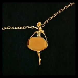 Jewelry - Ballerina sweater pendant and chain (amber color)