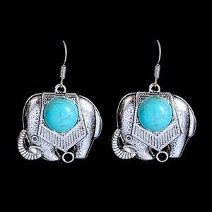  Silver Turquoise Elephant Earrings