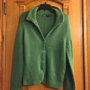 SUPER SOFT green Zara angora button up sweater