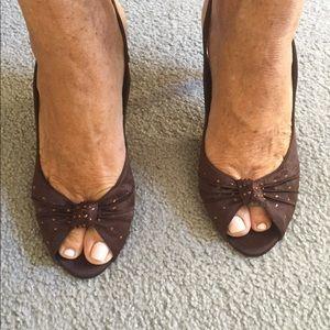 Elements by Nina Shoes - Ladies dressy brown peep toe sling back Nina shoe