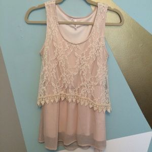 Tops - 🆕 Light pink with lace overlay tank, size small