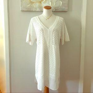 White Eyelet V Neck Dress!