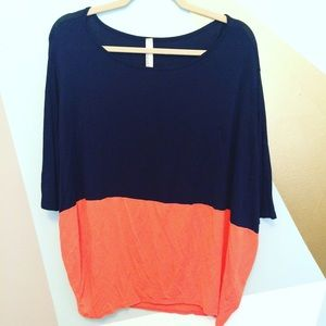 Tops - 🆕 Navy and coral oversized top