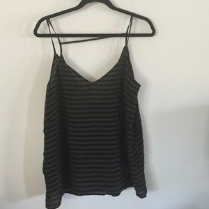 Olive and black striped tank