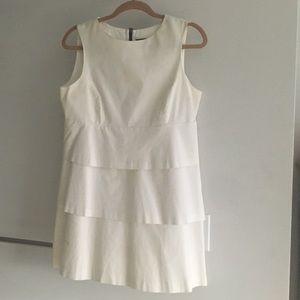 Zara basic white tiered dress