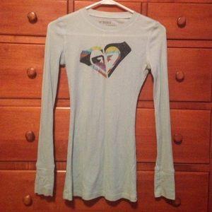 Roxy sz XS teal long sleeve tee shirt
