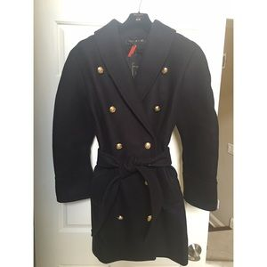 BALMAIN x H&M Jackets & Blazers - BALMAINxH&M Women's Wool Blend Military Coat