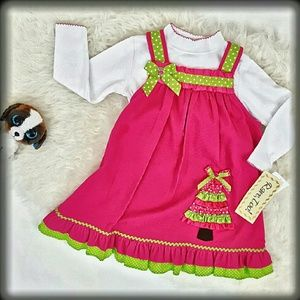 Rare Editions Other - 3/24🎯NWT Rare, Too Jumper Dress Set Pink Green