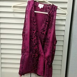 Parker Fuschia Snake Print Wrap Blouse Top