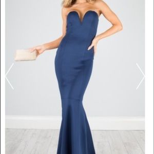 Navy mermaid gown large