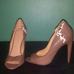 L.A.M.B. Shoes - L.A.M.B leather hair calf leopard print heels