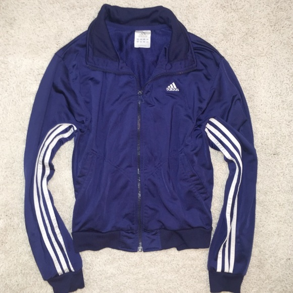 98dfd5bd9b68 Adidas Jackets   Coats   Navy Blue White Striped Zip Up Jacket ...