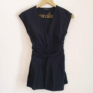BCBGMaxAzria Tops - BCBGMAXAZRIA Black Short Sleeve Wrap Blouse