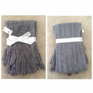NWT New York & Company Grey Glove and Scarf Set