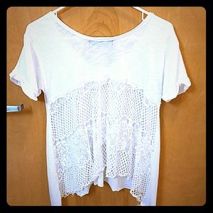 Tops - 🌱🌹White shirt with lace back