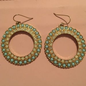 Banana republic blue beaded hoop earrings