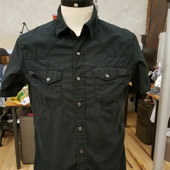 converse one star button up shirt