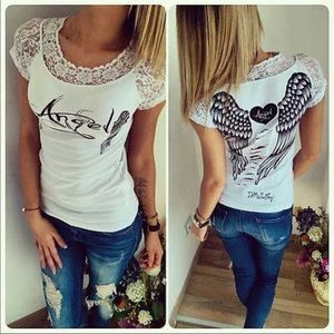 Tops - Angel Wings and Lace Sexy T White Shirt+ FREE GIFT