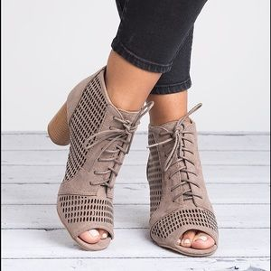 Taupe Cut Out Lace Up Booties