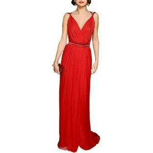 PRICE DROP ⬇⬇⬇⬇V Neck Red Chiffon Evening Dress