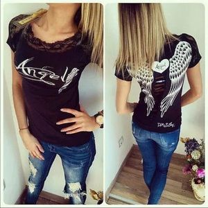 Tops - Angel Wings & Lace Sexy Black T + Free Gift 🎁