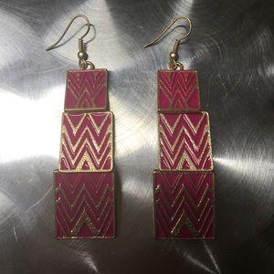 Pink Zig Zag Earrings - NEW
