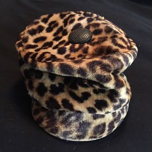 Leopard print hat 60's Small size head under 21 in
