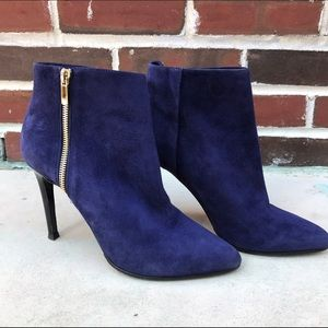 Lanvin Shoes - LANVIN Blue Suede Ankle Boots