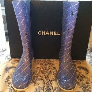 CHANEL Shoes - Limited edition Chanel rain boots blue color