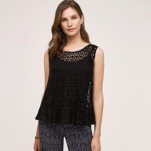 Anthropologie Miri lace tank vest brand new! Black