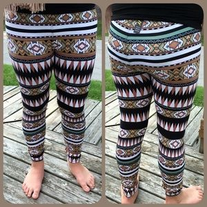 Khaki & Green Aztec Leggings! NWT!
