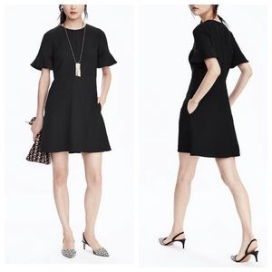 Banana Republic Flutter Sleeve Black Dress