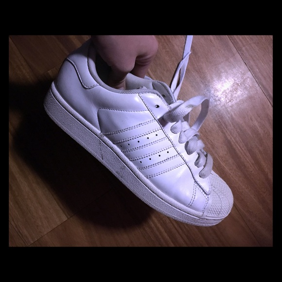 Adidas Shoes - Adidas superstar- all white  kids 5.5 women s 7 b4bb5eaa4