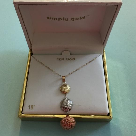 Simply gold Jewelry 10k Necklace W Pendant Tricolor 18 Poshmark