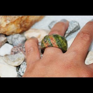 Pretty Large Unakite Ring Size 8 1/2