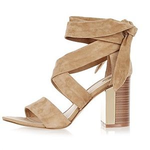 River Island Shoes - SALE River Island Beige Suede wrap heels sz 7-7.5