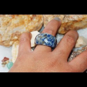 Oversized Faceted Navy Sodalite Ring 8 1/2