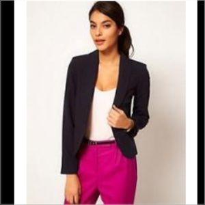 NWT ASOS NAVY BLUE TAILORED BLAZER BUTTON FRONT 4