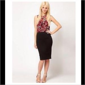 NWT ASOS RED FLORAL PRINT TOP MIDI PENCIL DRESS 4