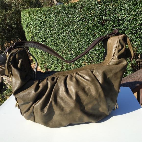 Mimco Bags - Mimco Olive Green Brown Leather Hobo Bag