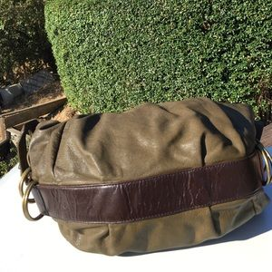 Mimco Bags - Mimco Olive Green Brown Leather Hobo Bag