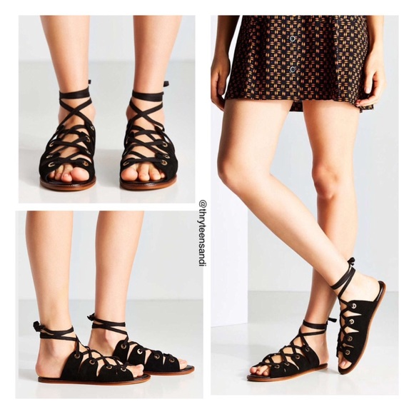 ca666753726 Urban Outfitters Black Suede Gladiator Sandals
