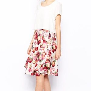 Asos Midi Skirt Floral Rose