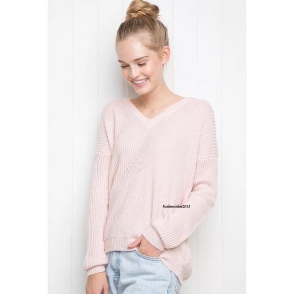Brandy Melville - Brandy Melville pastel pink v neck lance sweater ...
