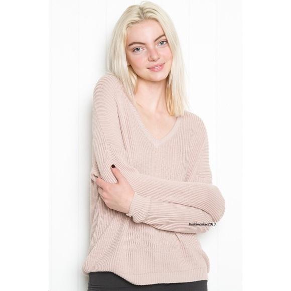 Brandy Melville - Brandy Melville blush pink v neck lance sweater ...