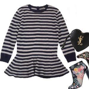 AQUA cashmere stripe button back peplum sweater