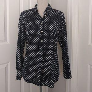J. Crew Factory navy white polka dot blouse