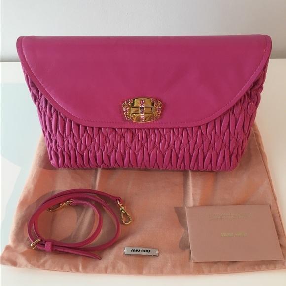 Mui Mui Matelasse Nappa Leather Hot Pink Clutch. NWT. Miu Miu ec0ebb3f14d9a