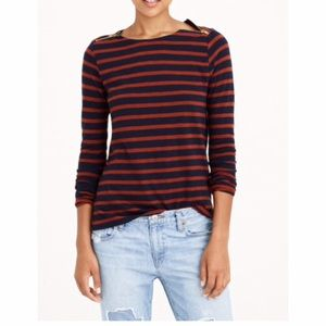 EUC J. Crew Classic Striped Painter Zipper Tee