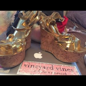 Shoes - Gold 5 inch wedges NWOT